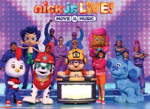 Nick Jr. Live! cast of colorful cartoon and people