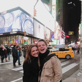 Kate Piering, Spotlight Triple Threat winner, and brother Dan in Times Square